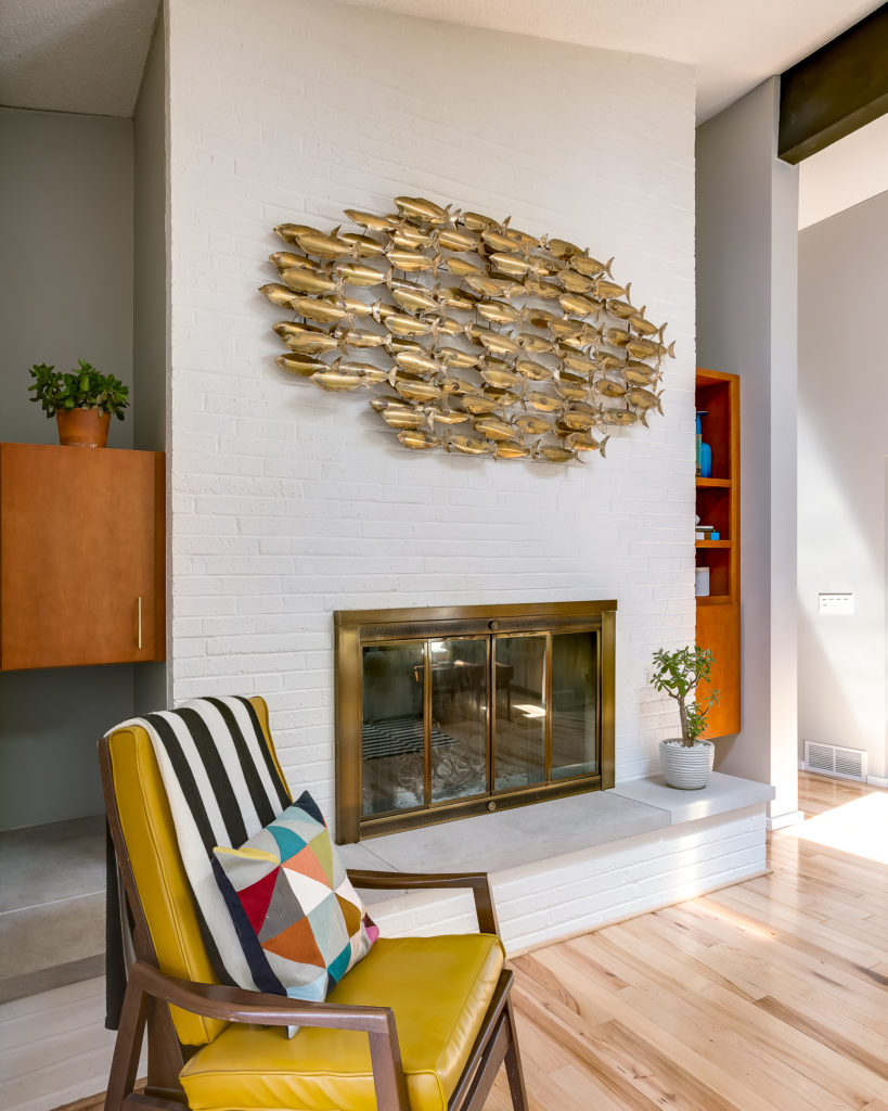 paint mid century modern fireplace white mcm brick