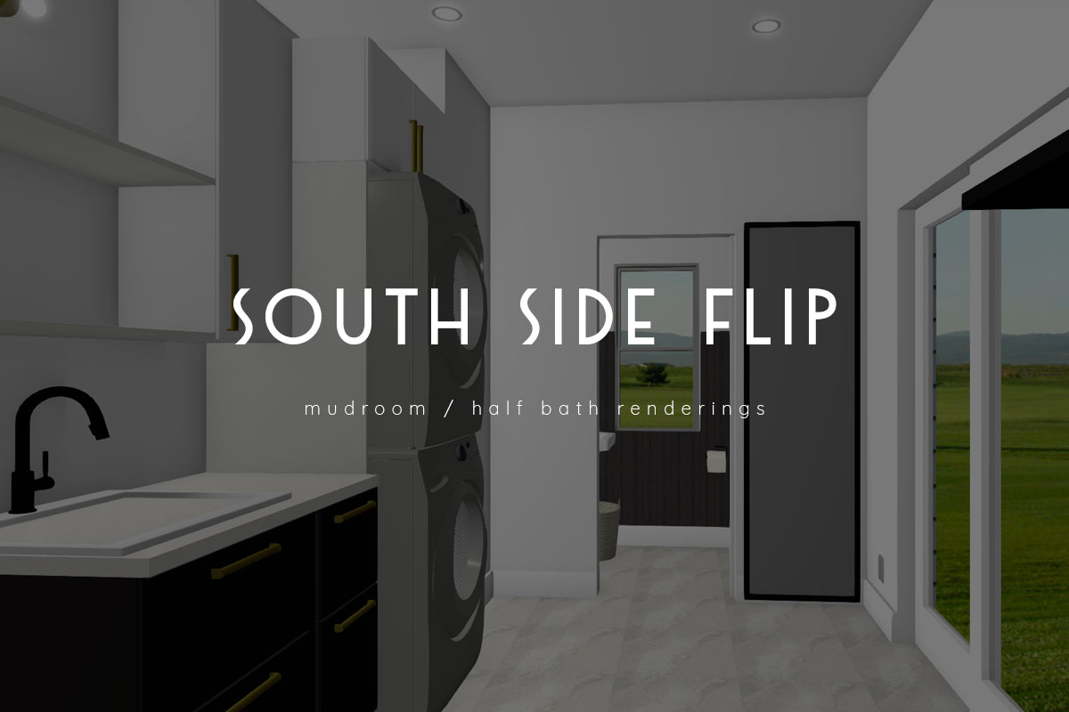 south side flip – mudroom / half bath renderings