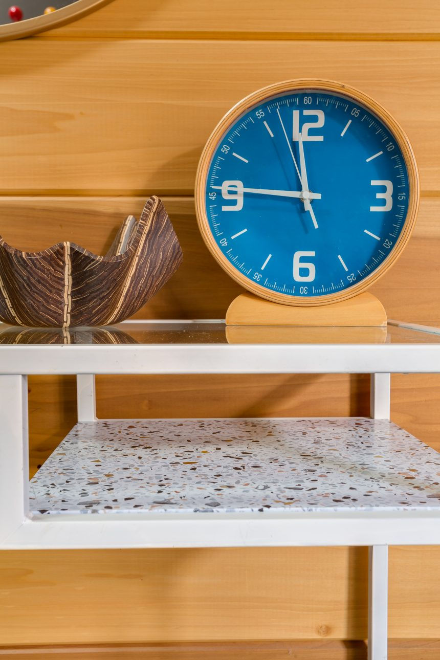 Faux terrazzo counter for pennies